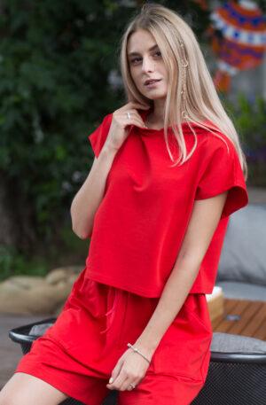 костюм трикотажный красный